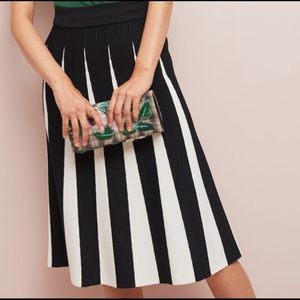 Anthropologie Maeve Pleated Contrast Skirt